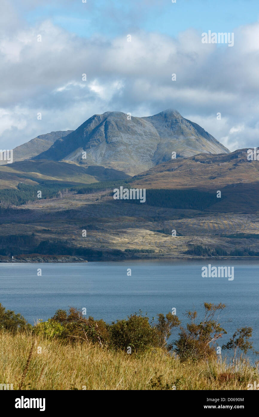 The mountain of Beinn Sgritheall in the Scottish Highlands seen from the Isle of Skye across the Sound of Sleat, - Stock Image