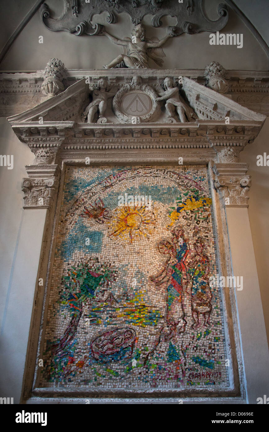 MOSES SAVED FROM THE WATERS MOSAIC BY MARC CHAGAL THE CHURCH IN VENCE ALPES-MARITIMES (06) FRANCE - Stock Image