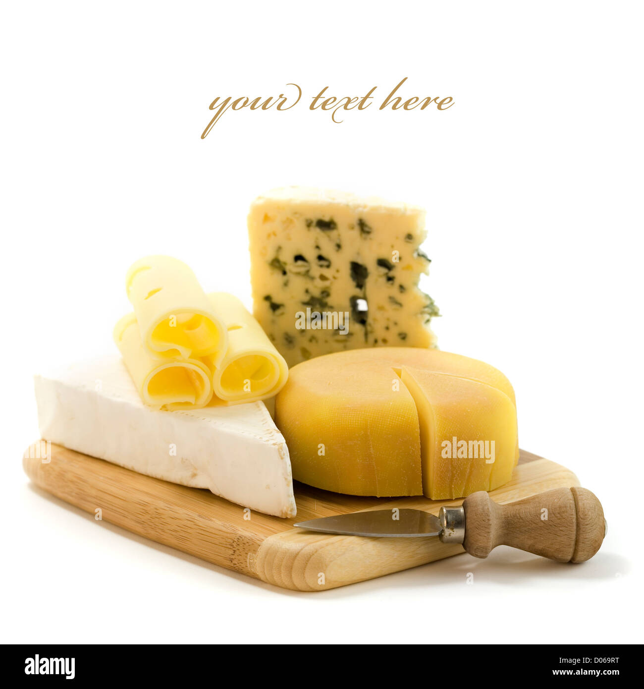 4 kinds of cheese with a cheese knife. With sample text - Stock Image