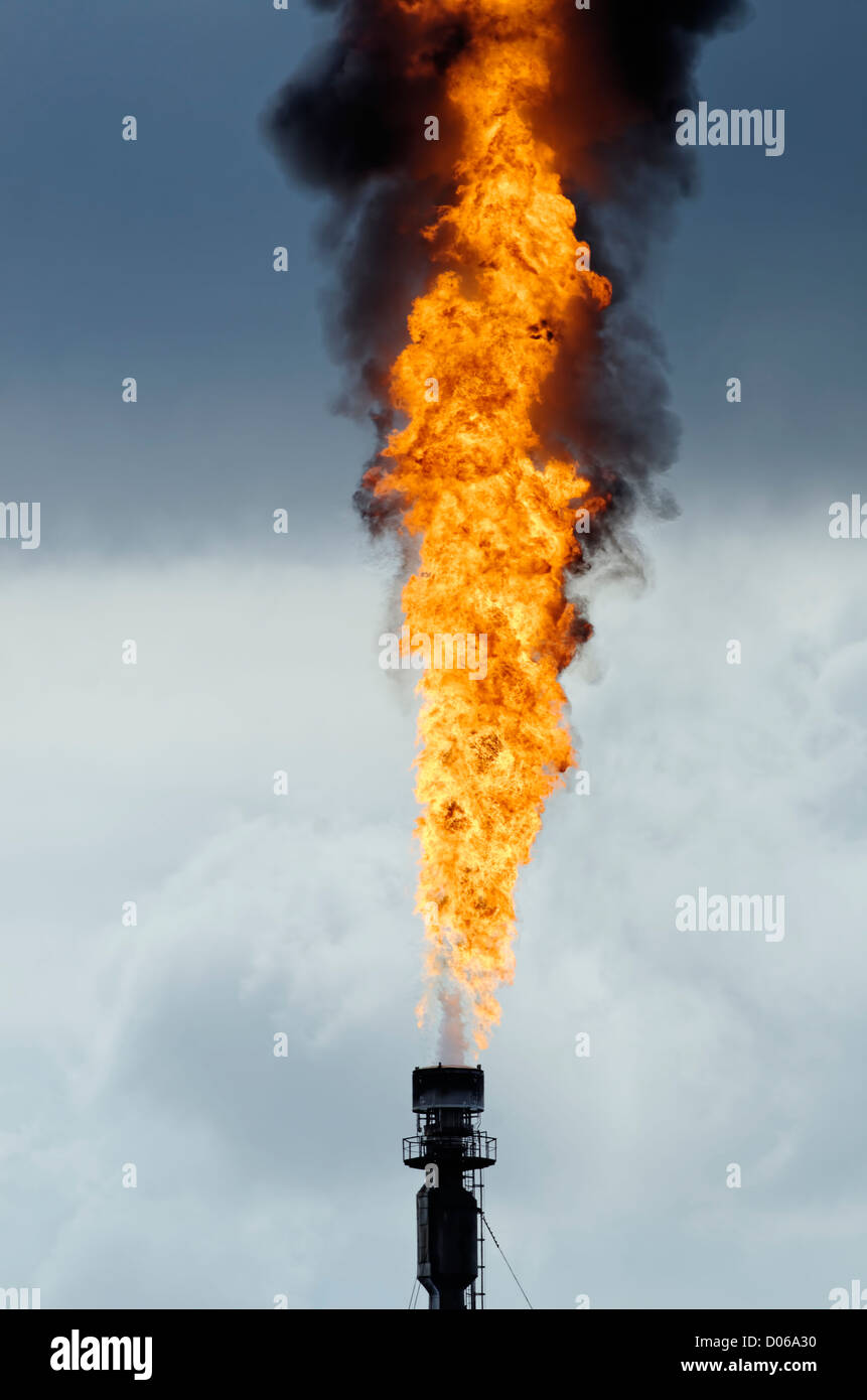 a flare in the petrochemical industry - Stock Image