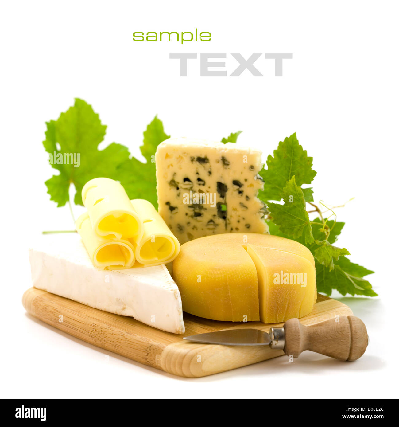 4 kinds of cheese with a cheese knife and grape leaves. With sample text - Stock Image