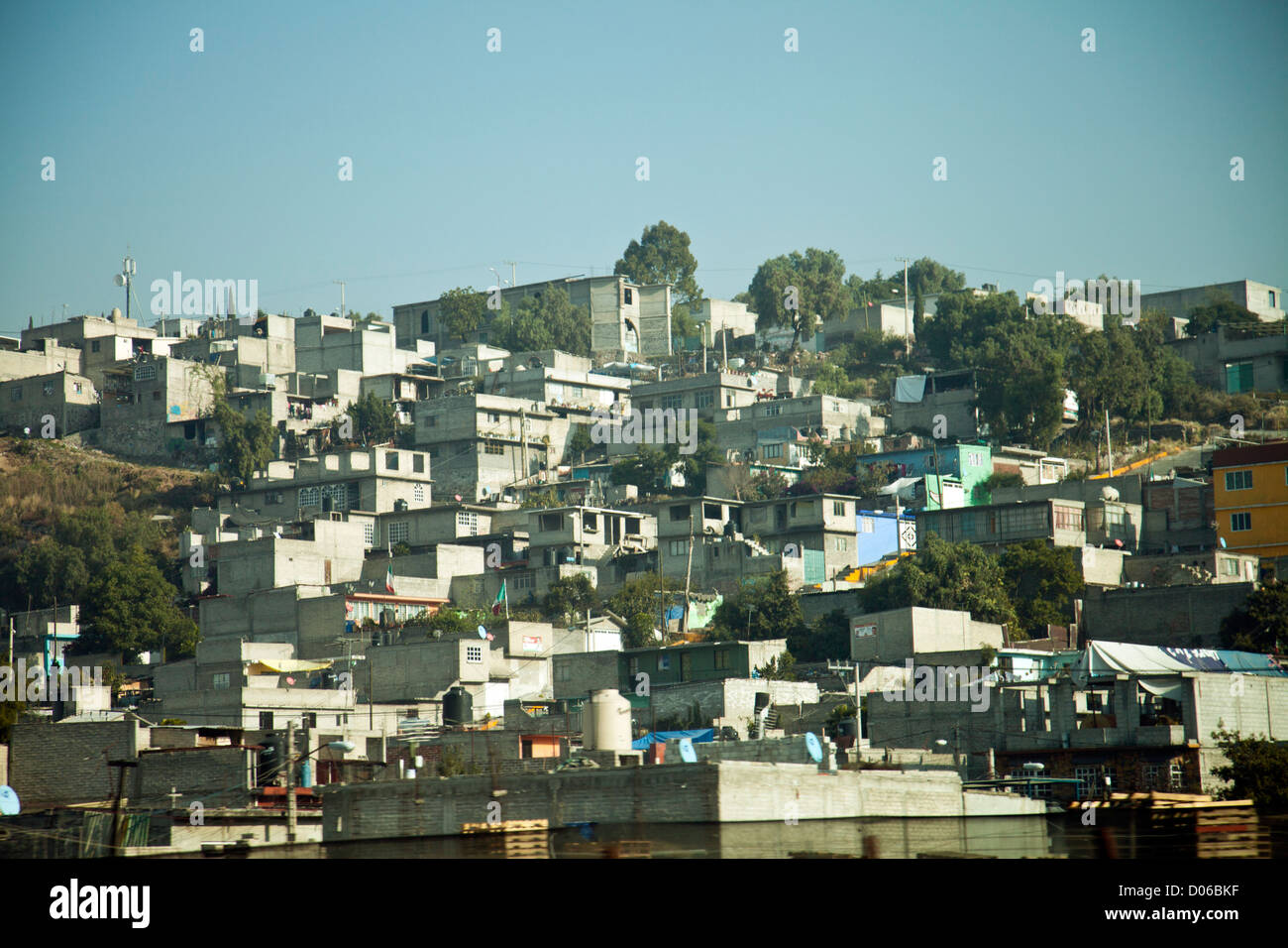 Settlements outside, to north east, of Mexico City - Stock Image