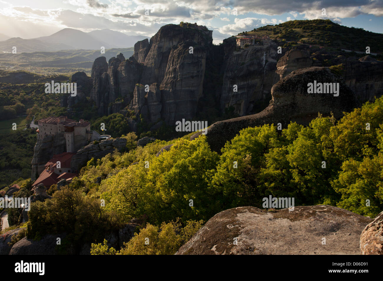 Monasteries and Conglomerate cliffs at Meteora - World Heritage Site in north central Greece. - Stock Image