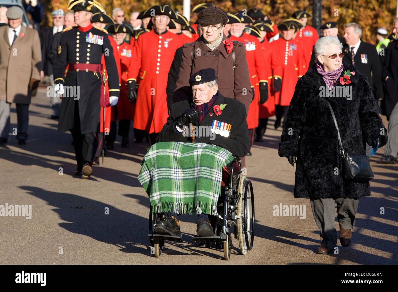 War Hero in his wheelchair on Remembrance Sunday in and around whitehall London 2012  Poppy Day - Stock Image