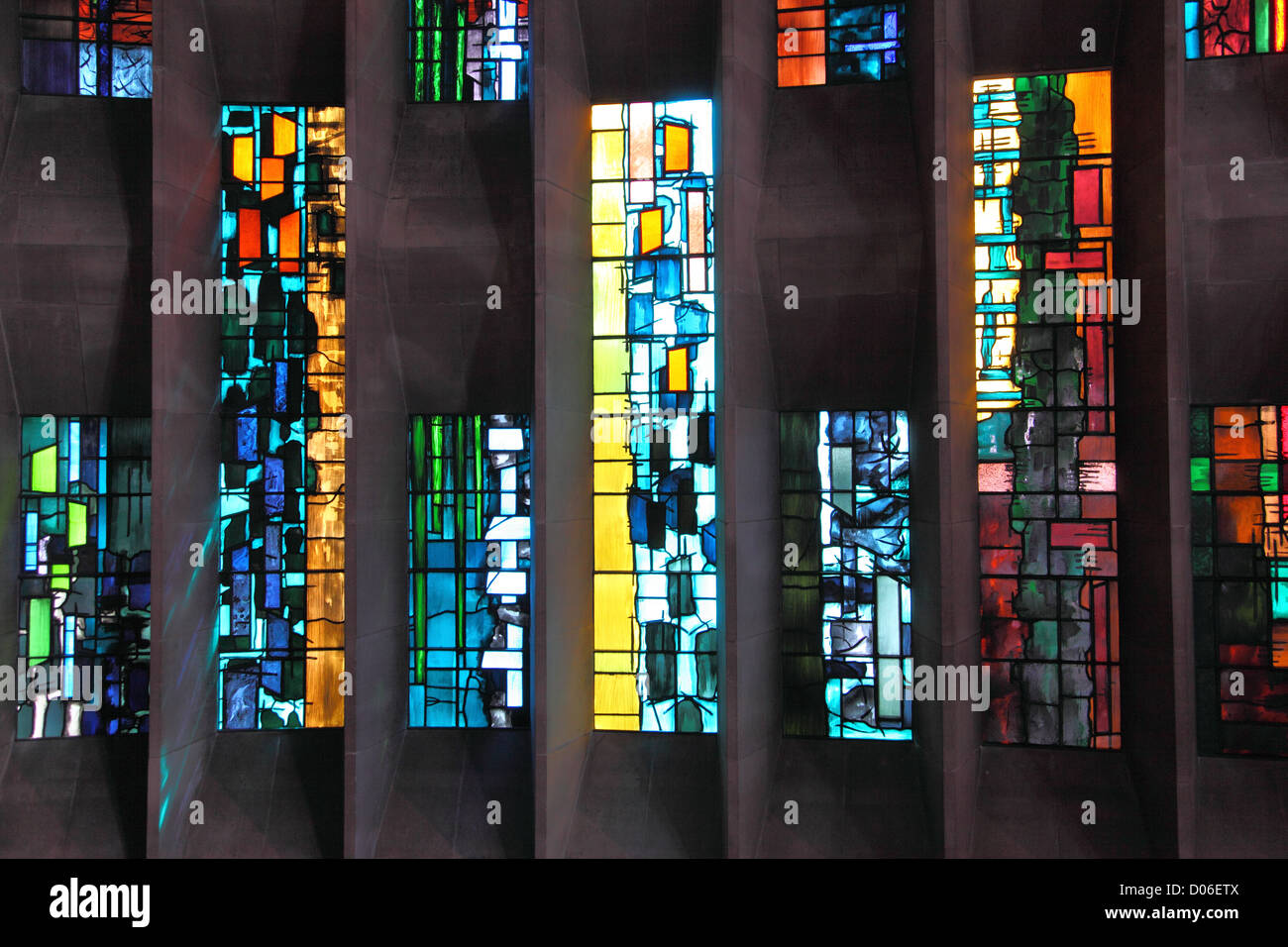 The Baptistry window in Coventry Cathedral, UK., designed by John Piper. Contemporary design comprising 195 individual - Stock Image