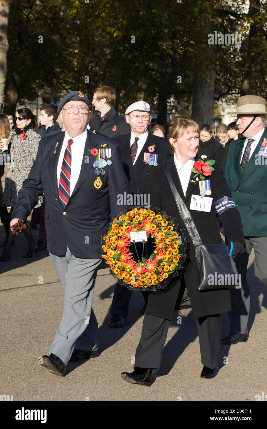 The men and women of Remembrance Sunday in and around whitehall London 2012  Poppy Day Stock Photo