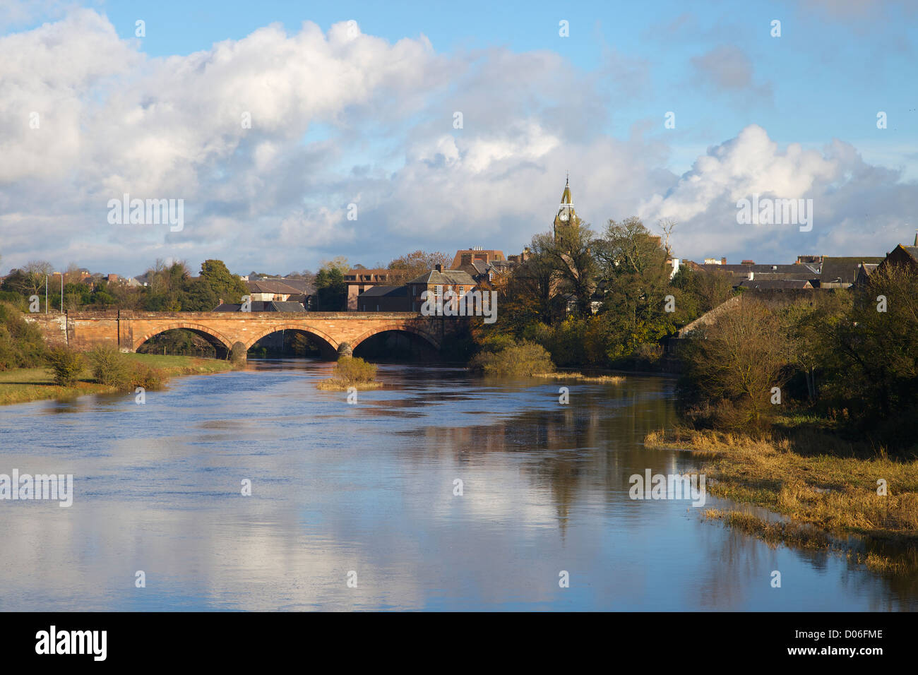 River Annan spanned by Annan Road Bridge Dumfries and Galloway in Scotland - Stock Image