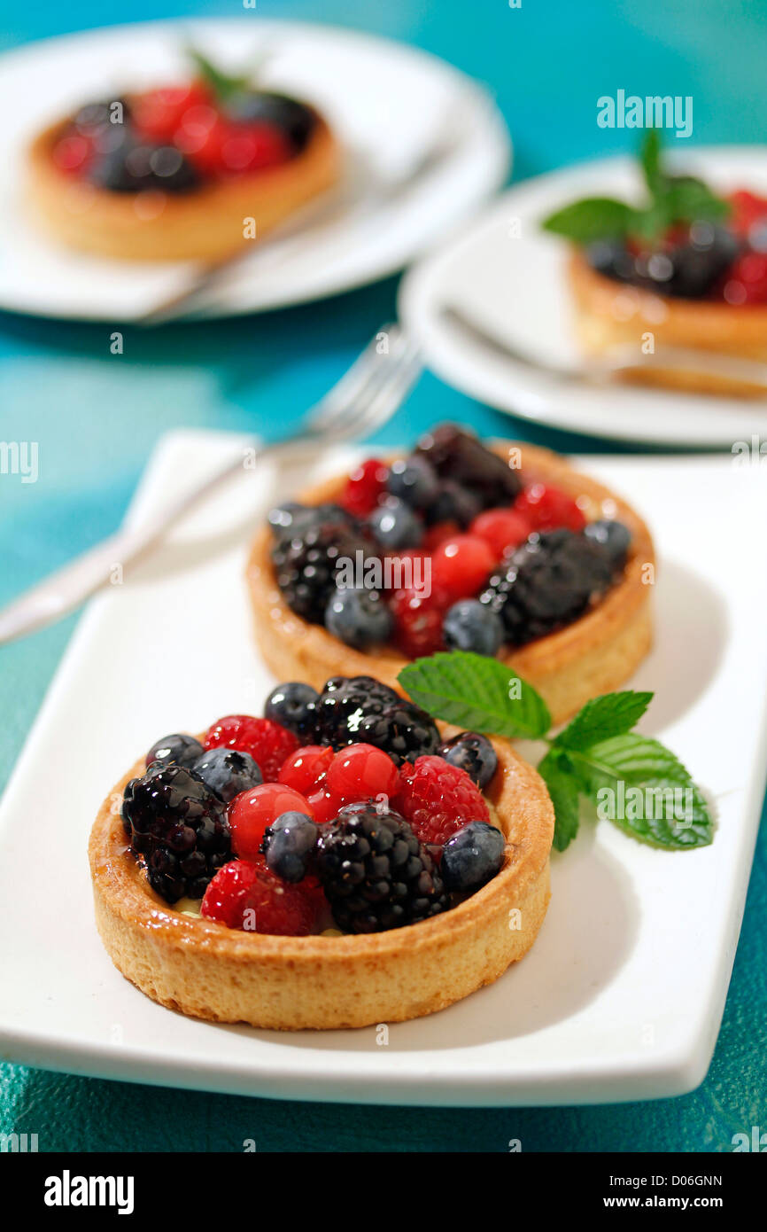 Wild berries tartlets. Recipe available. - Stock Image