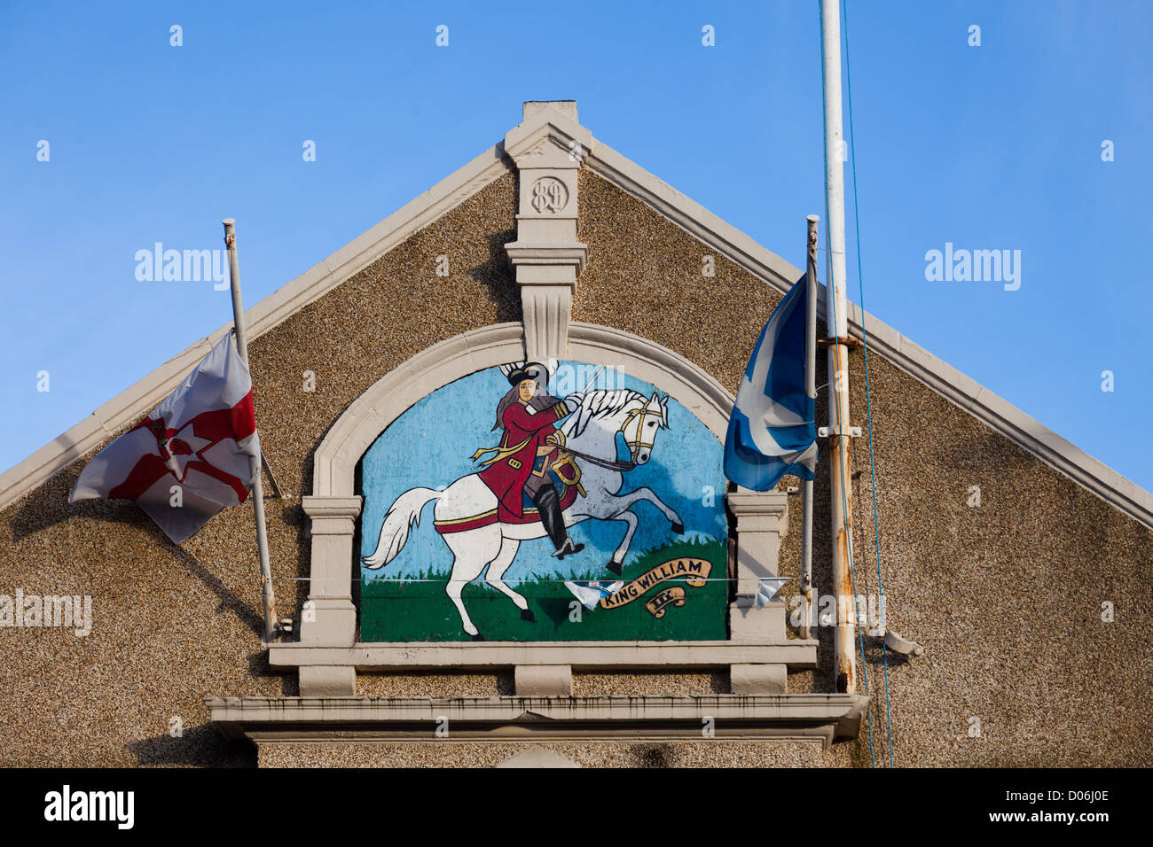 Painted Mural Of King William Of Orange On A White Horse Above The
