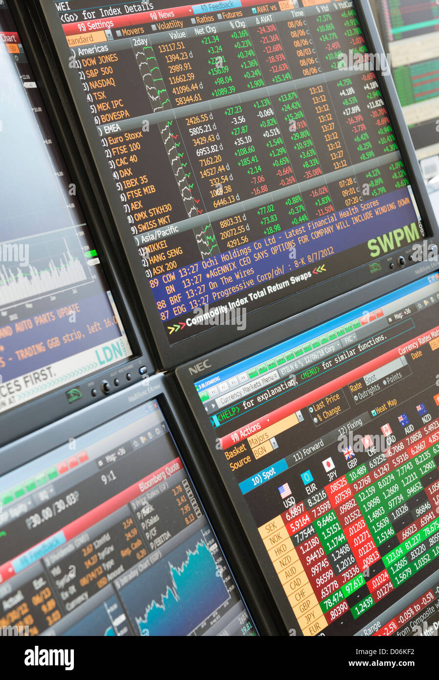 Stocks and shares trading monitor - Stock Image