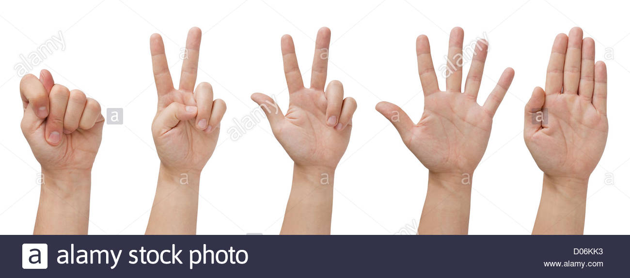 set of five isolated hands with various gestures - Stock Image