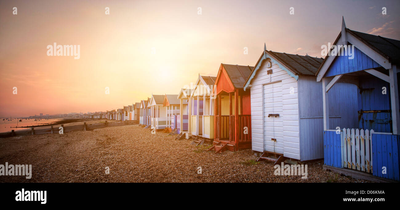 Beach huts at Southend On Sea - Stock Image