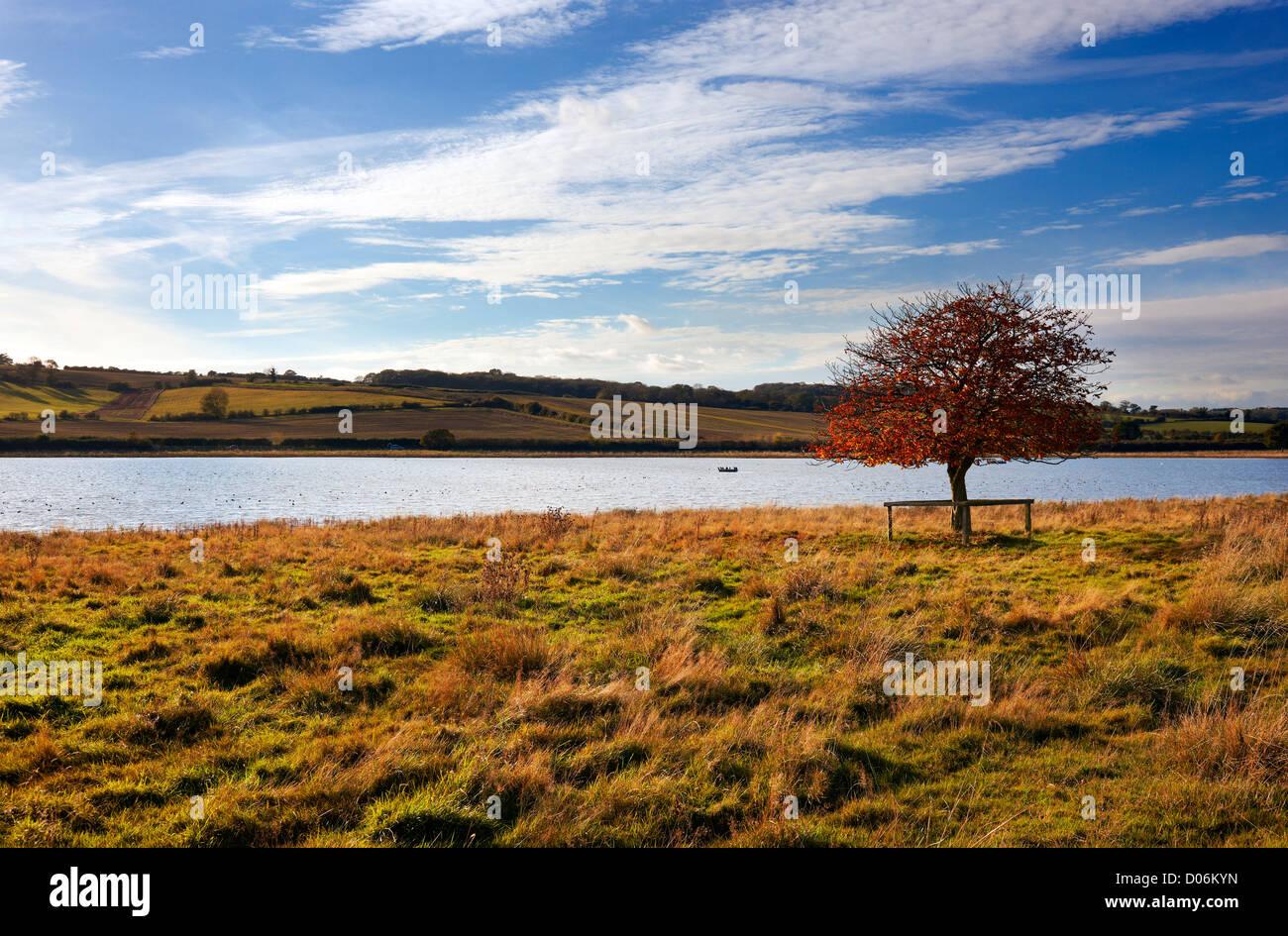 Eyebrook reservoir on the Leicestershire Rutland border, UK - Stock Image