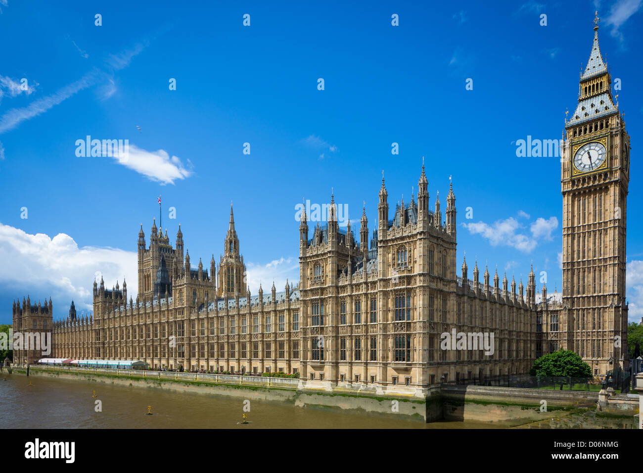 Palace of Westminster, or Houses of Parliament, in London, United Kingdom - Stock Image