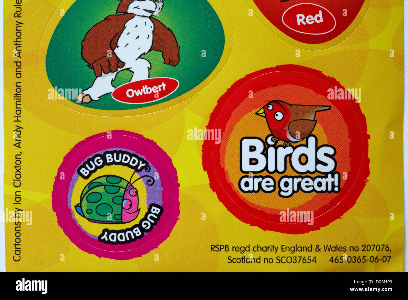 Sheet of rspb wildlife stickers stickers birds are great and bug buddy stock image