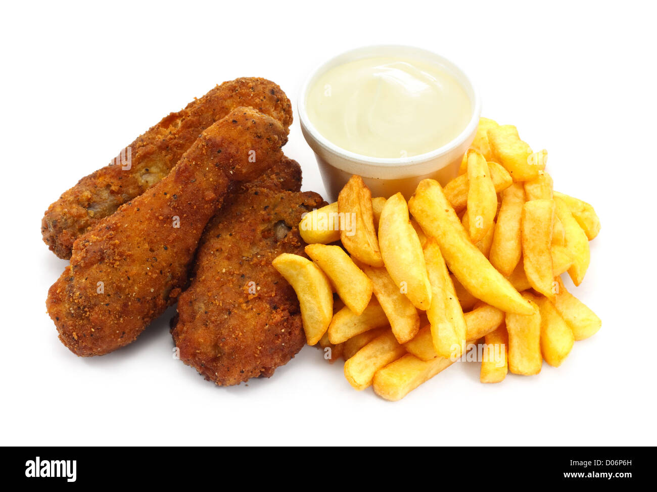 Three pieces of crispy southern fried chicken with fries - Stock Image