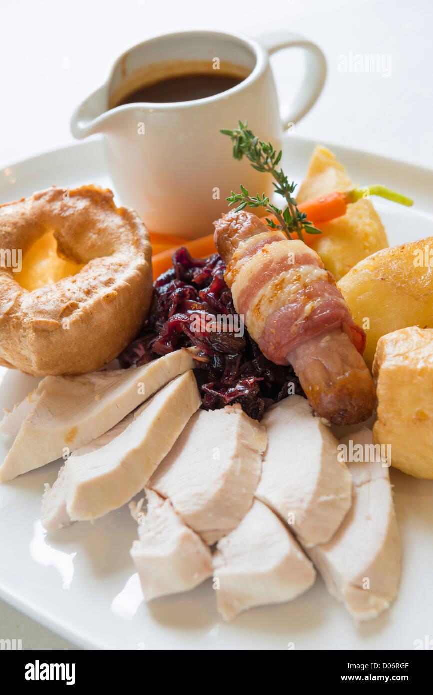 Traditional sunday roast dinner Stock Photo