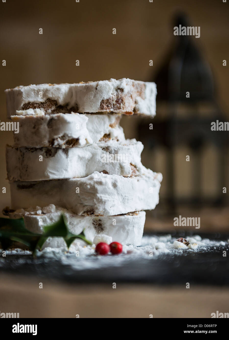 Christmas Stollen cake - Stock Image