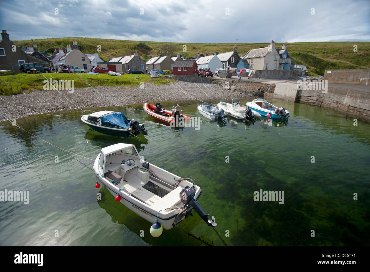 Sandend Harbour and village on the North East coast of Moray and Aberdeenshire.  SCO 8453 - Stock Image