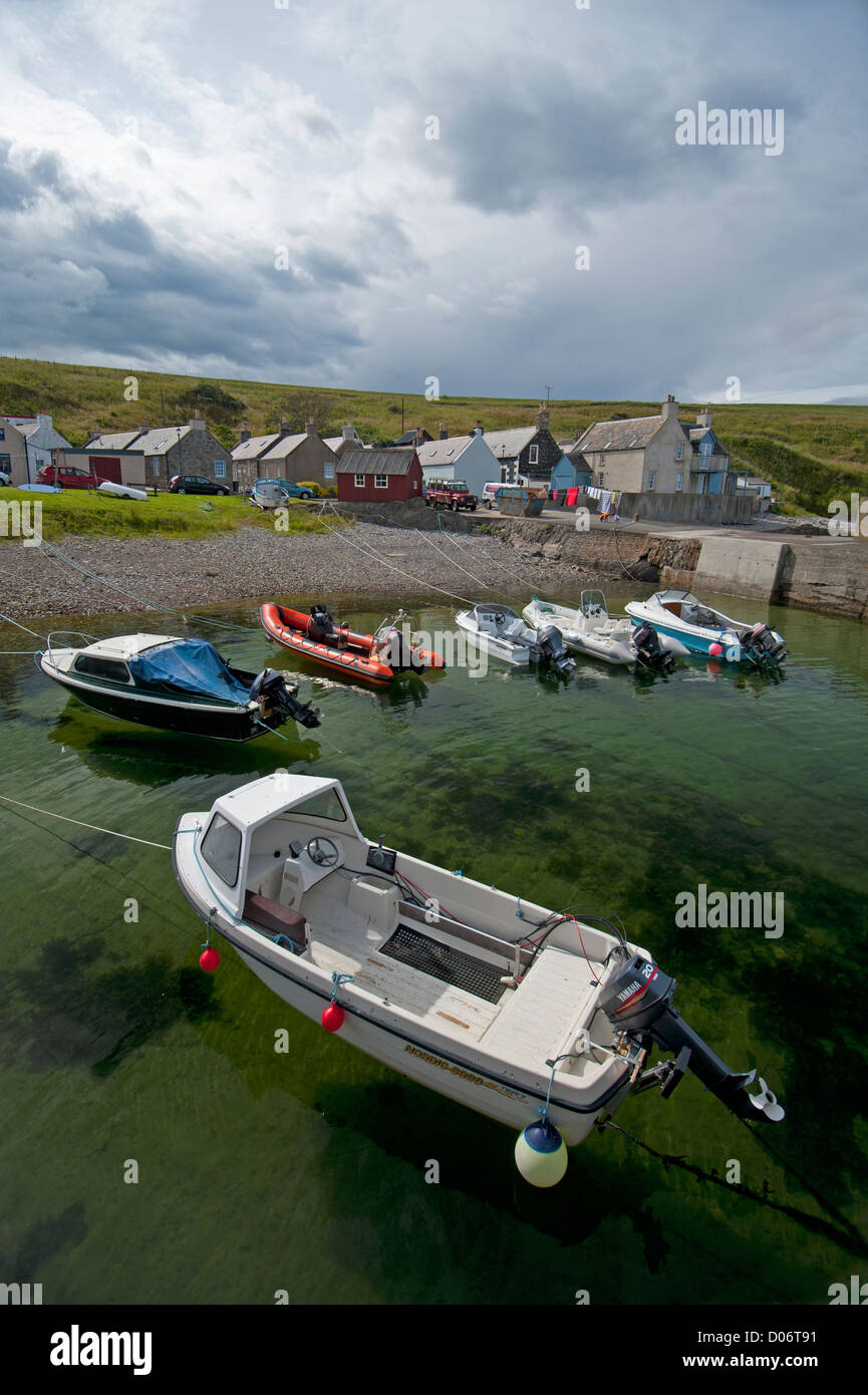Sandend Harbour and village on the North East coast of Moray and Aberdeenshire.  SCO 8454 - Stock Image