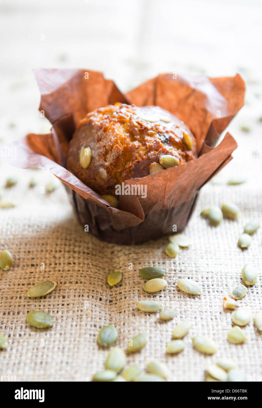 Pumpkin muffins and seeds. - Stock Image