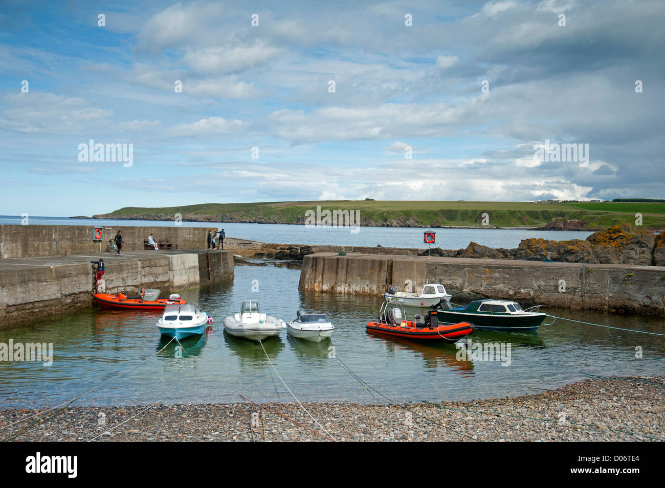 Sandend Harbour on the North East coast of Moray and Aberdeenshire. - Stock Image