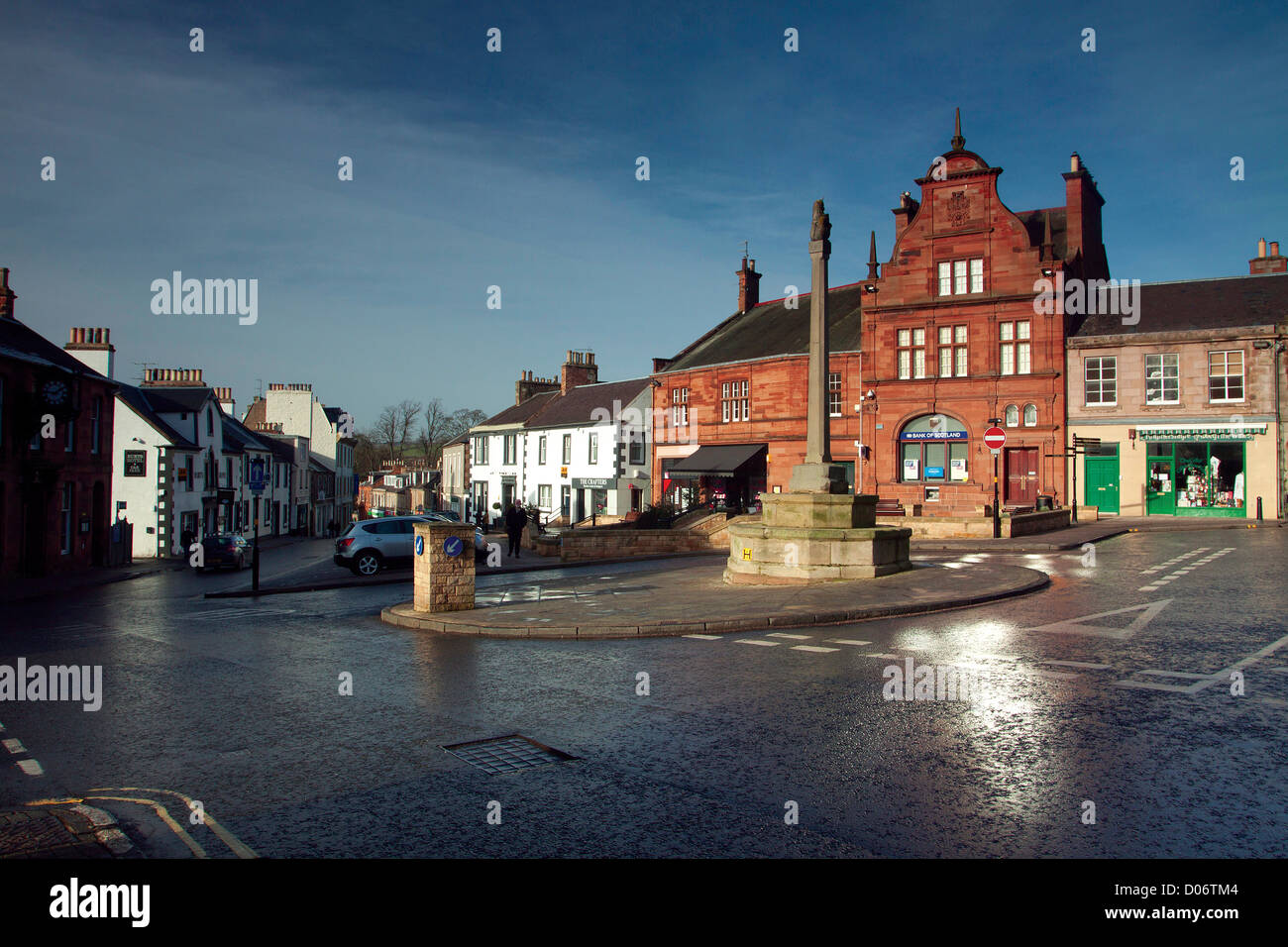 Market Square, Melrose, a village sitting on the banks of the River Tweed, Scottish Borders - Stock Image