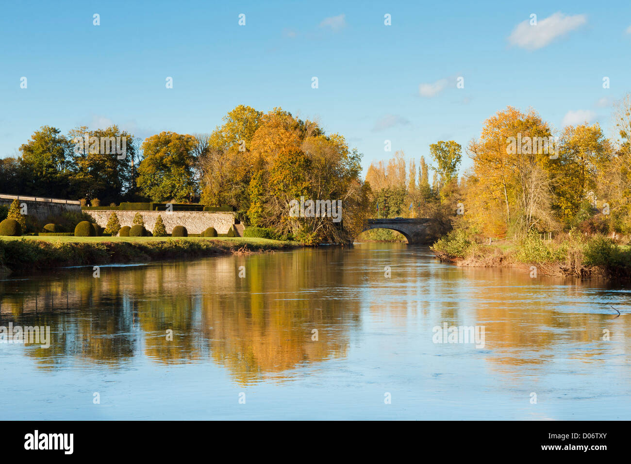 River near traditional French garden, France, Europe Stock Photo ...
