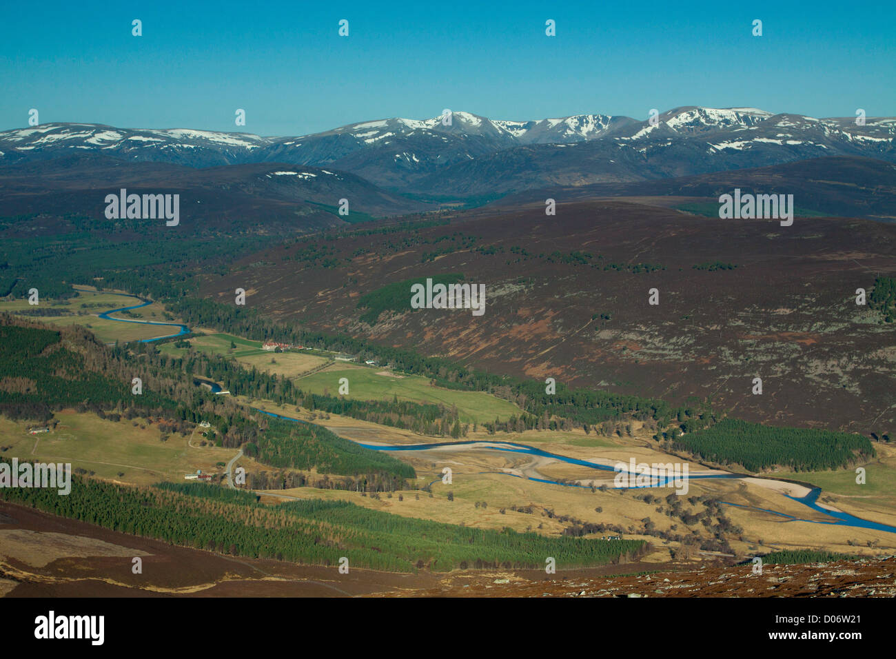 The Cairngorms and the River Dee from Morrone, Aberdeenshire Stock Photo