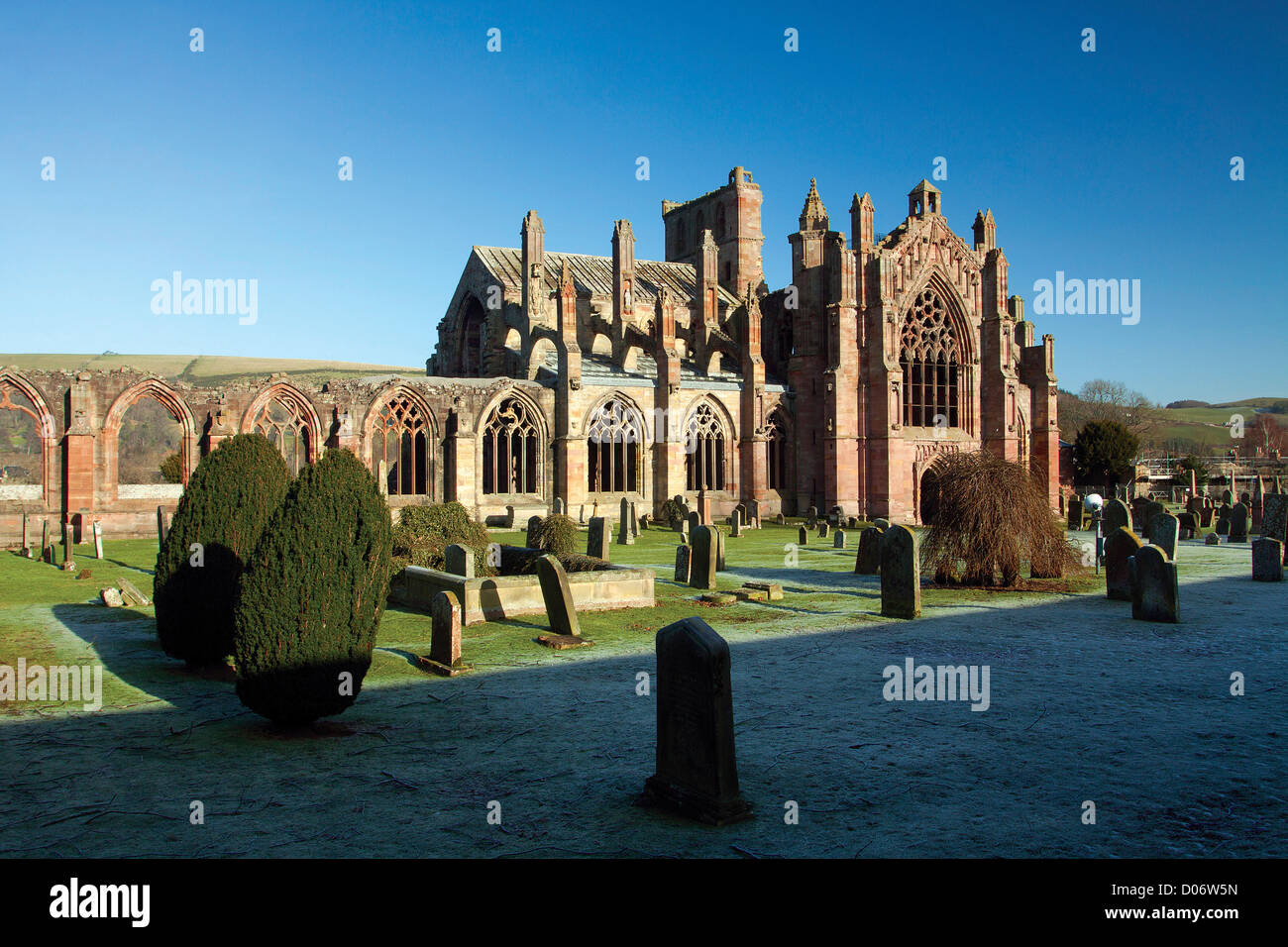 Melrose Abbey, Melrose, Scottish Borders - Stock Image