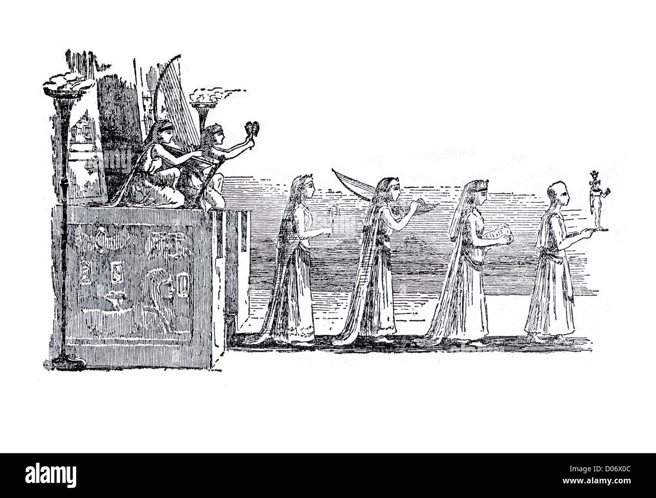 Antique line drawing of an Egyptian procession passing through a pair of pillars Stock Photo
