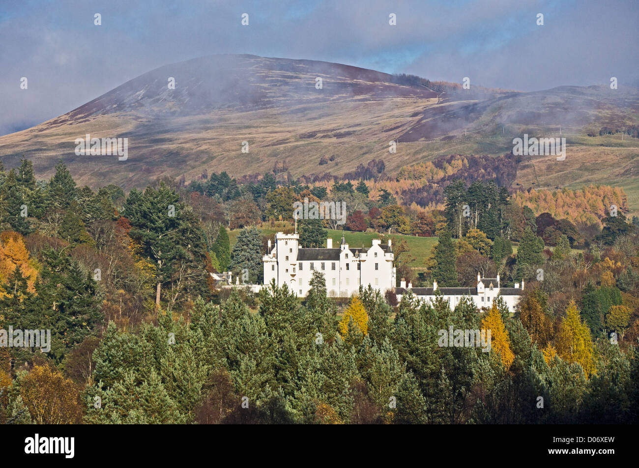 Blair Castle in Blair Atholl Perthshire Scotland on a sunny autumn day as seen from the A9 road - Stock Image