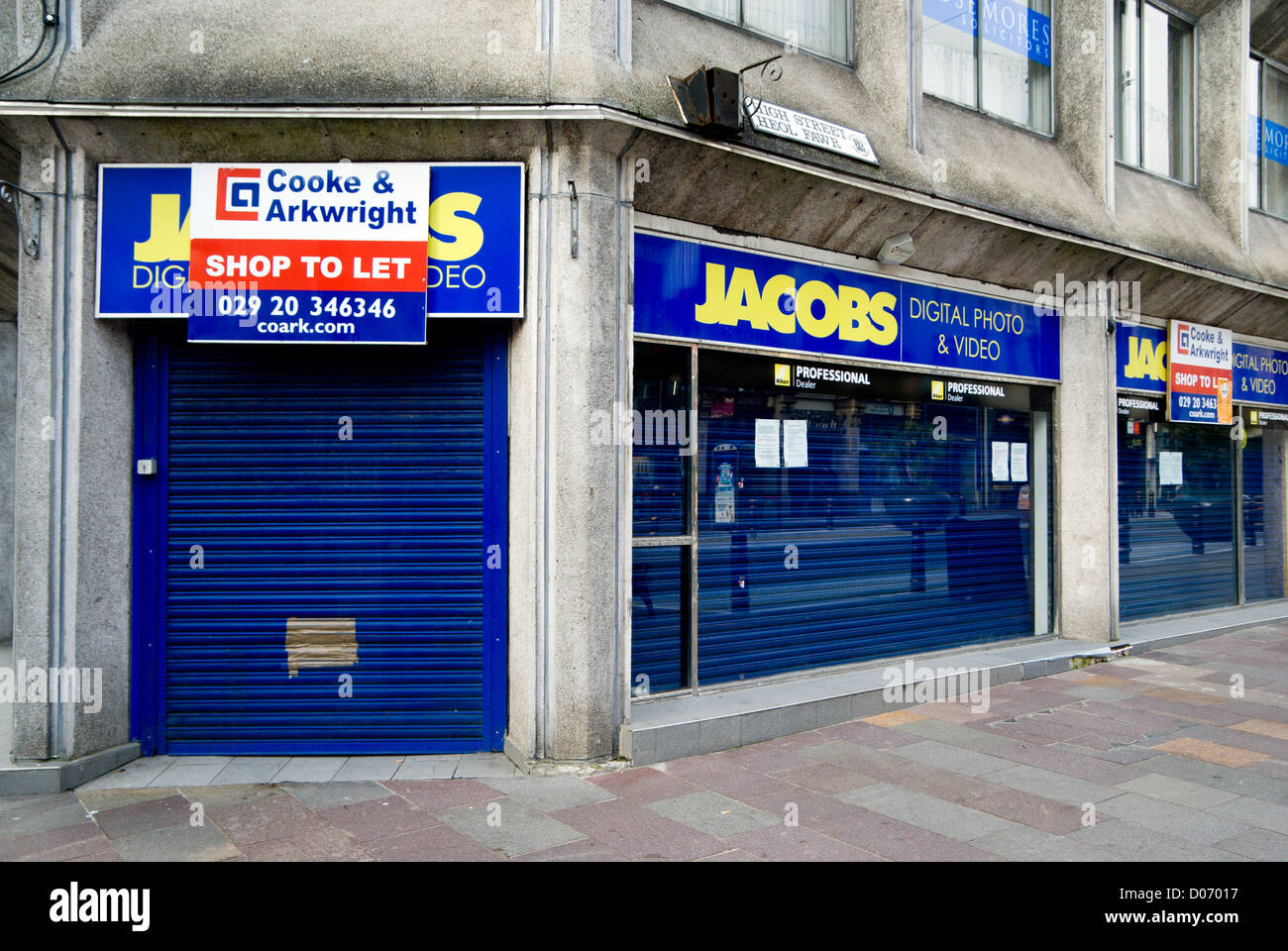 empty branch of jacobs photo visual chain high street cardiff wales uk - Stock Image