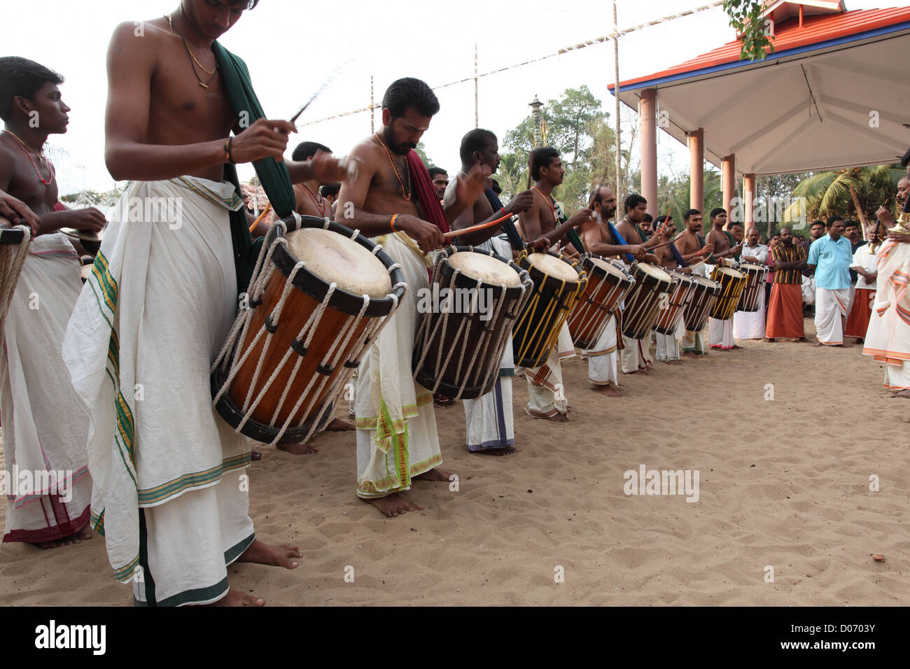 The most traditional of all melams is called Pandi Melam which is generally performed outside the temple, during - Stock Image