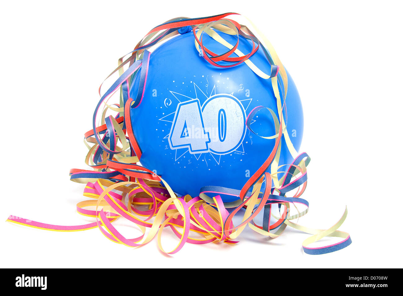 Blue birthday balloon for someone who is 40 years old with party streamers over white background - Stock Image