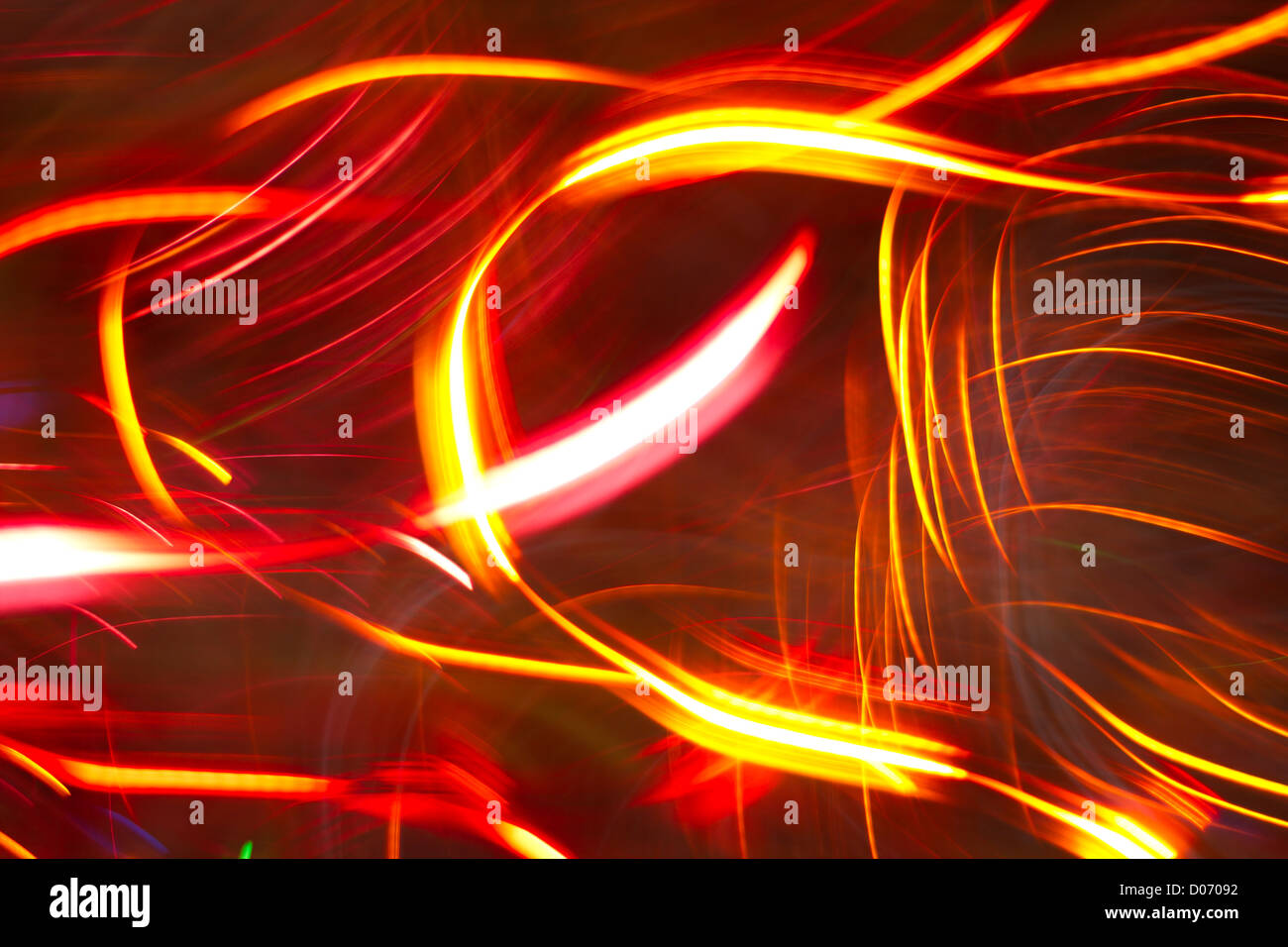 Bright lights in long exposure abstract. - Stock Image