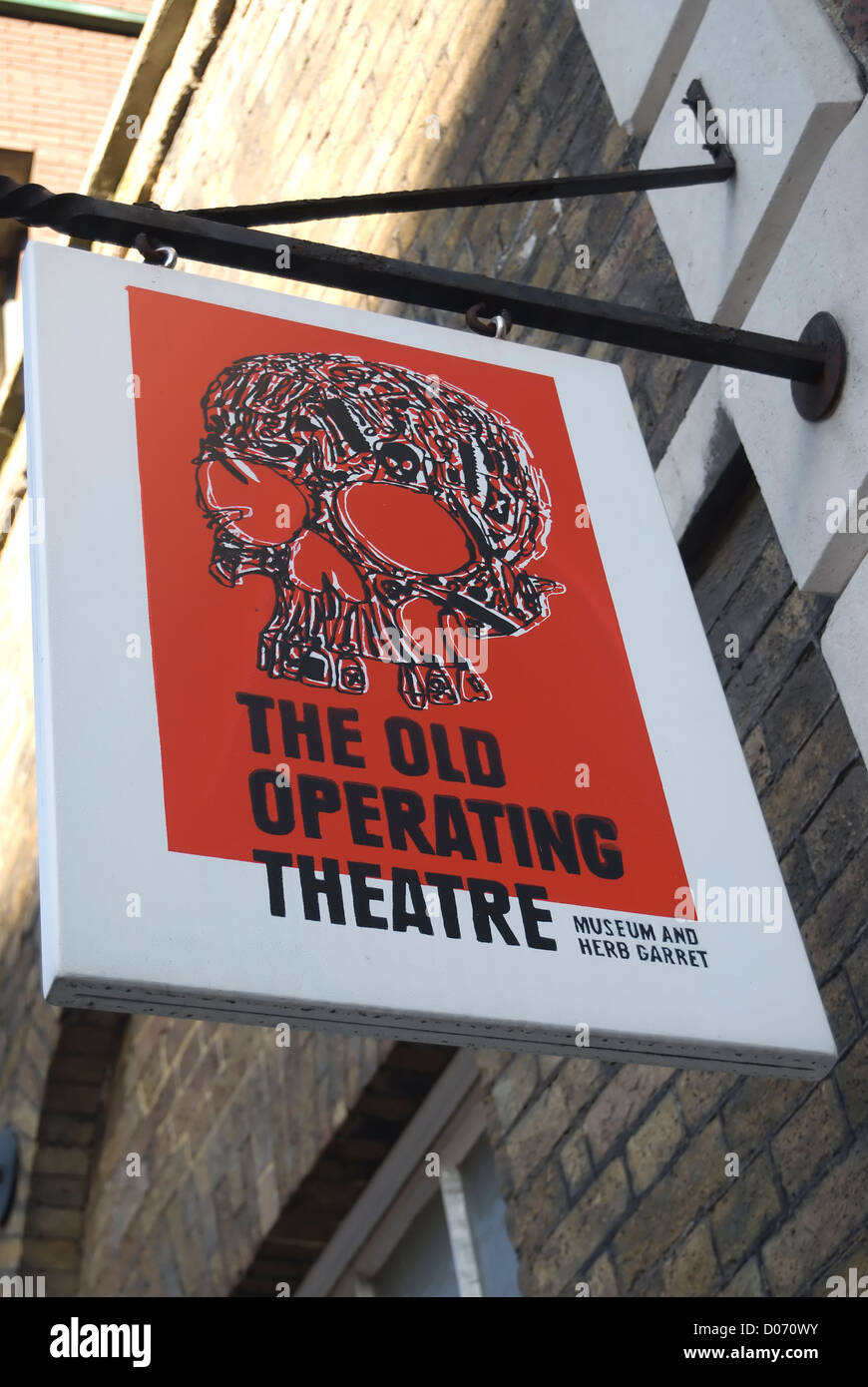 hanging sign marking the old operating theatre and herb garret museum, southwark, london, england - Stock Image