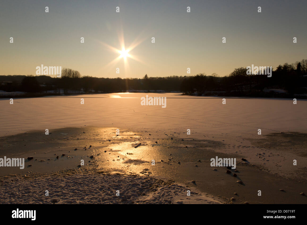Frozen lake in countryside, France, Europe. - Stock Image
