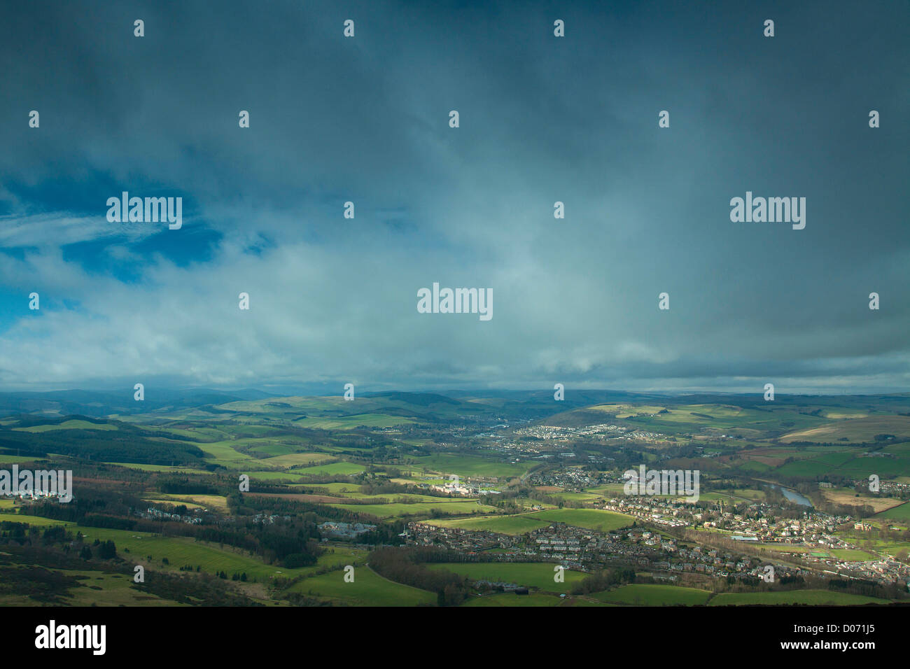 Melrose, Galashiels and the River Tweed from Eildon Hill North, Scottish Borders - Stock Image