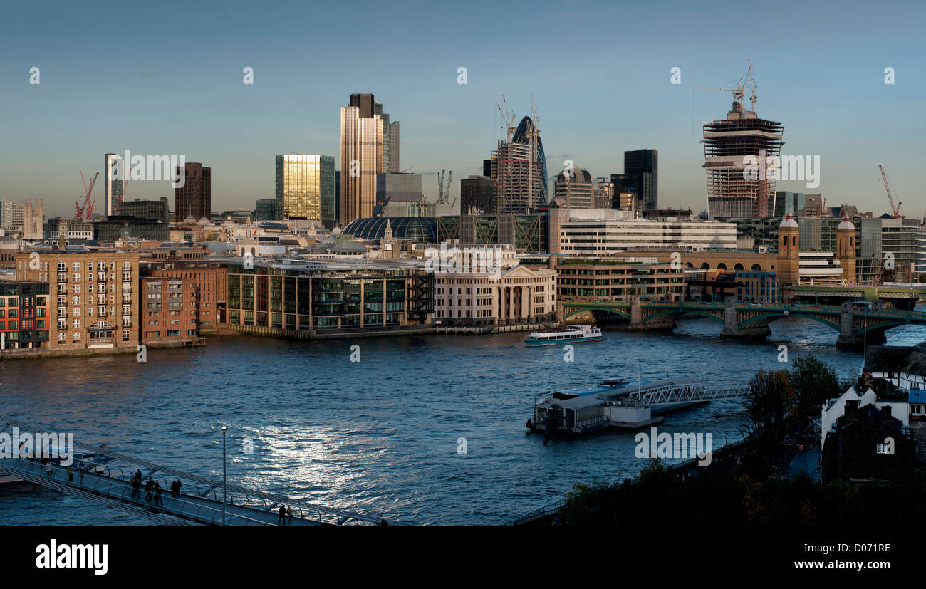 City of London and River Thames view from Tate Modern Art Gallery , London, England,UK. BRIAN HARRIS © 11-2012 - Stock Image