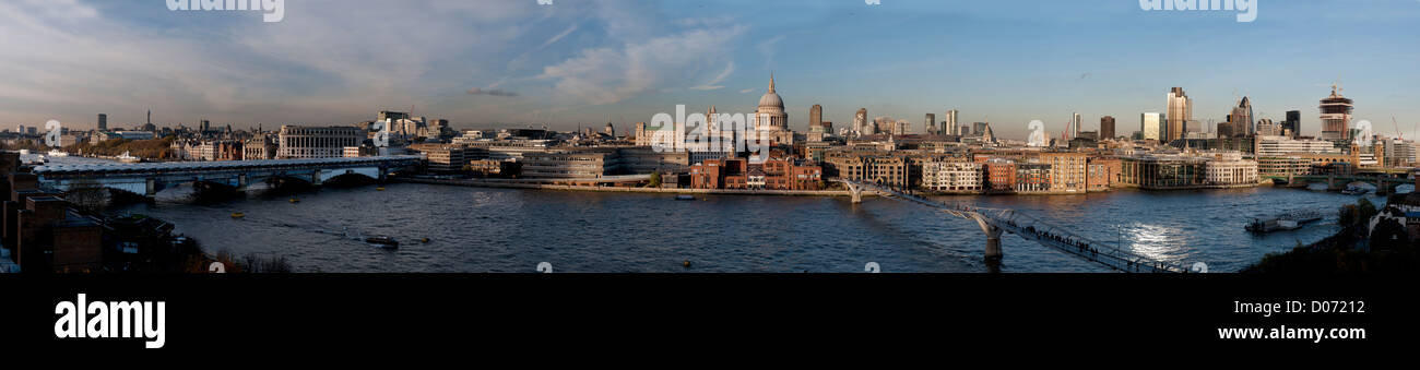 St Pauls Cathedral and River Thames view from Tate Modern Art Gallery with City of London School ( Red Brick Building Stock Photo