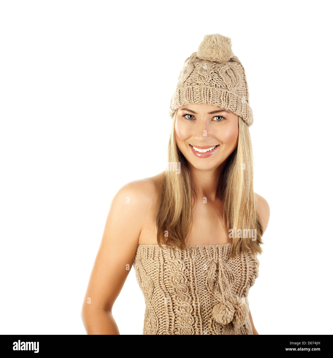 Photo of pretty woman wearing beige winter hat isolated on white background, attractive female in knitted brown Stock Photo