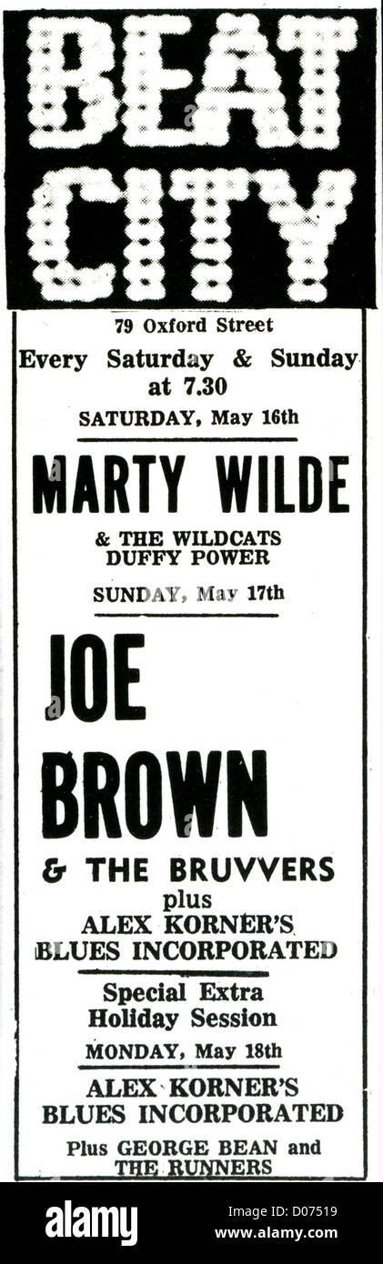 BEAT CITY Advert for gigs at the London rock club at 79 Oxford Street in May 1964 including Joe Brown and Marty - Stock Image