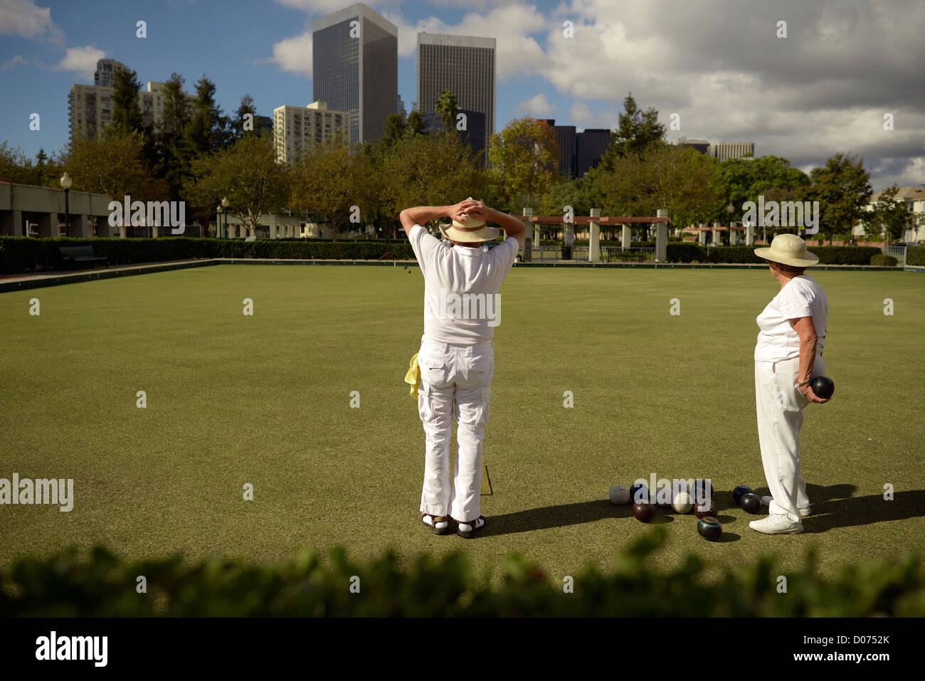 beverly hills lawn bowls usa - Stock Image