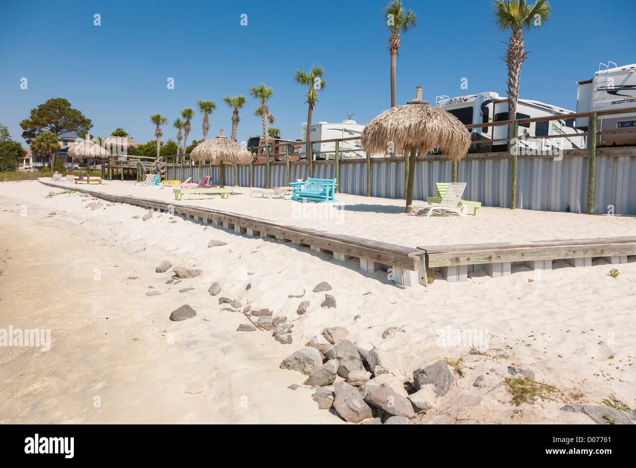 Private beach at waterfront RV resort on Santa Rosa Sound in Navarre, Florida - Stock Image