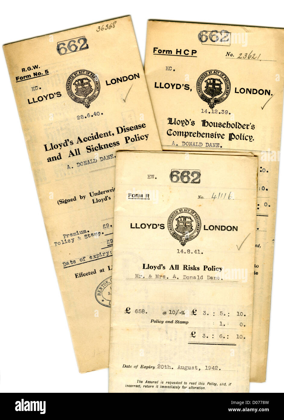 Old Lloyd's of London Wartime Insurance Policies from 1939-41. Household; Accident and sickness; All Risks - Stock Image
