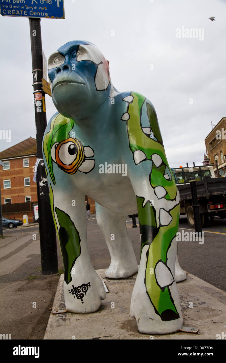 A painted statue of a gorilla, one of many which are dotted around the streets of Bristol, England - Stock Image