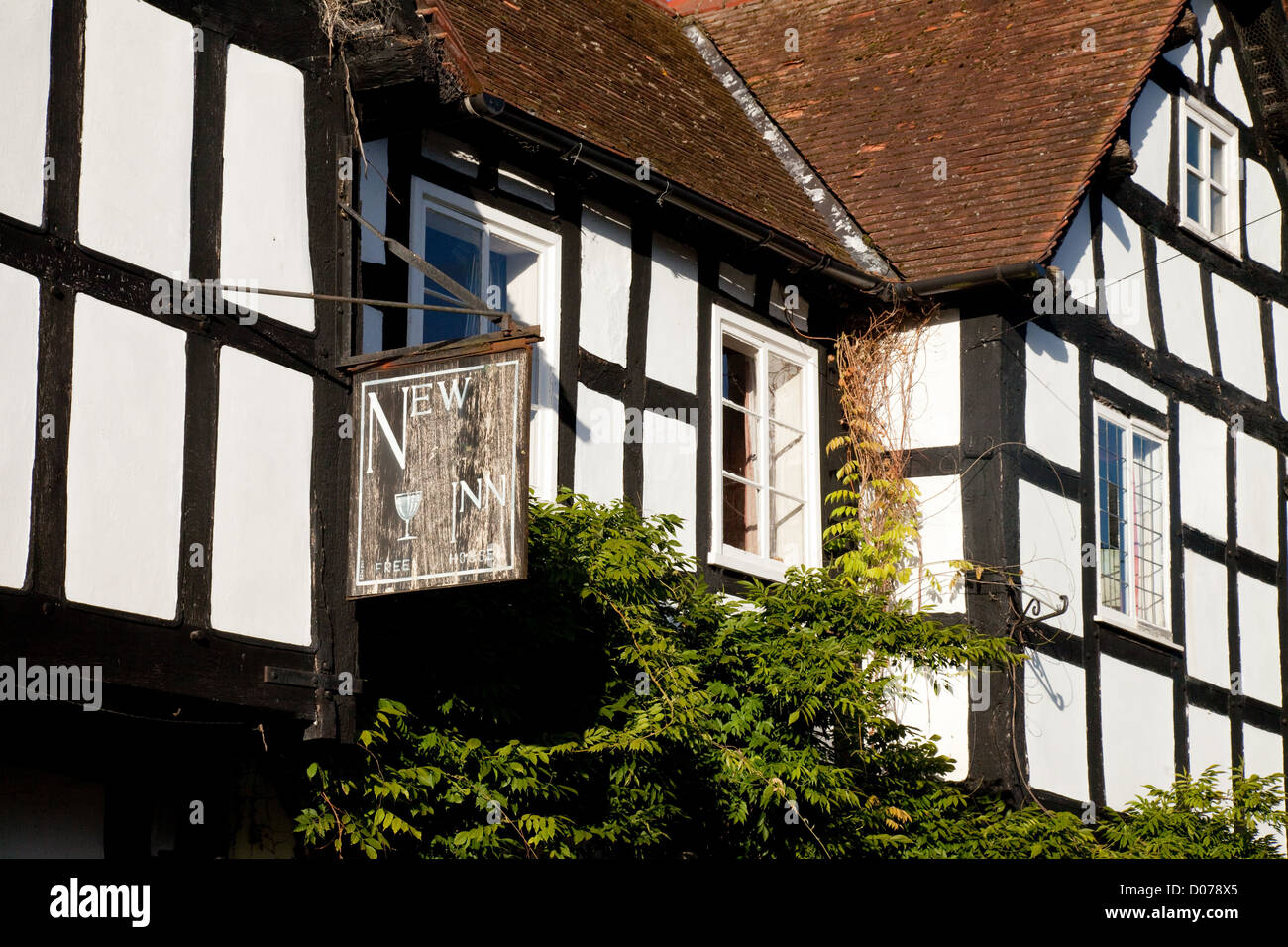 The half timbered 14th century New Inn in Pembridge village Herefordshire England UK - Stock Image