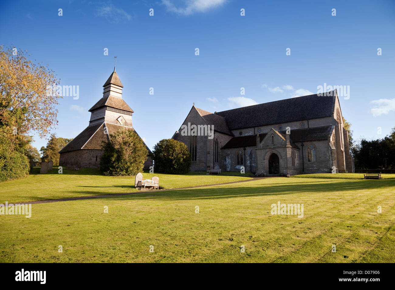 St Marys church Pembridge, a 14th century building with a separate  belltower,  Herefordshire UK - Stock Image