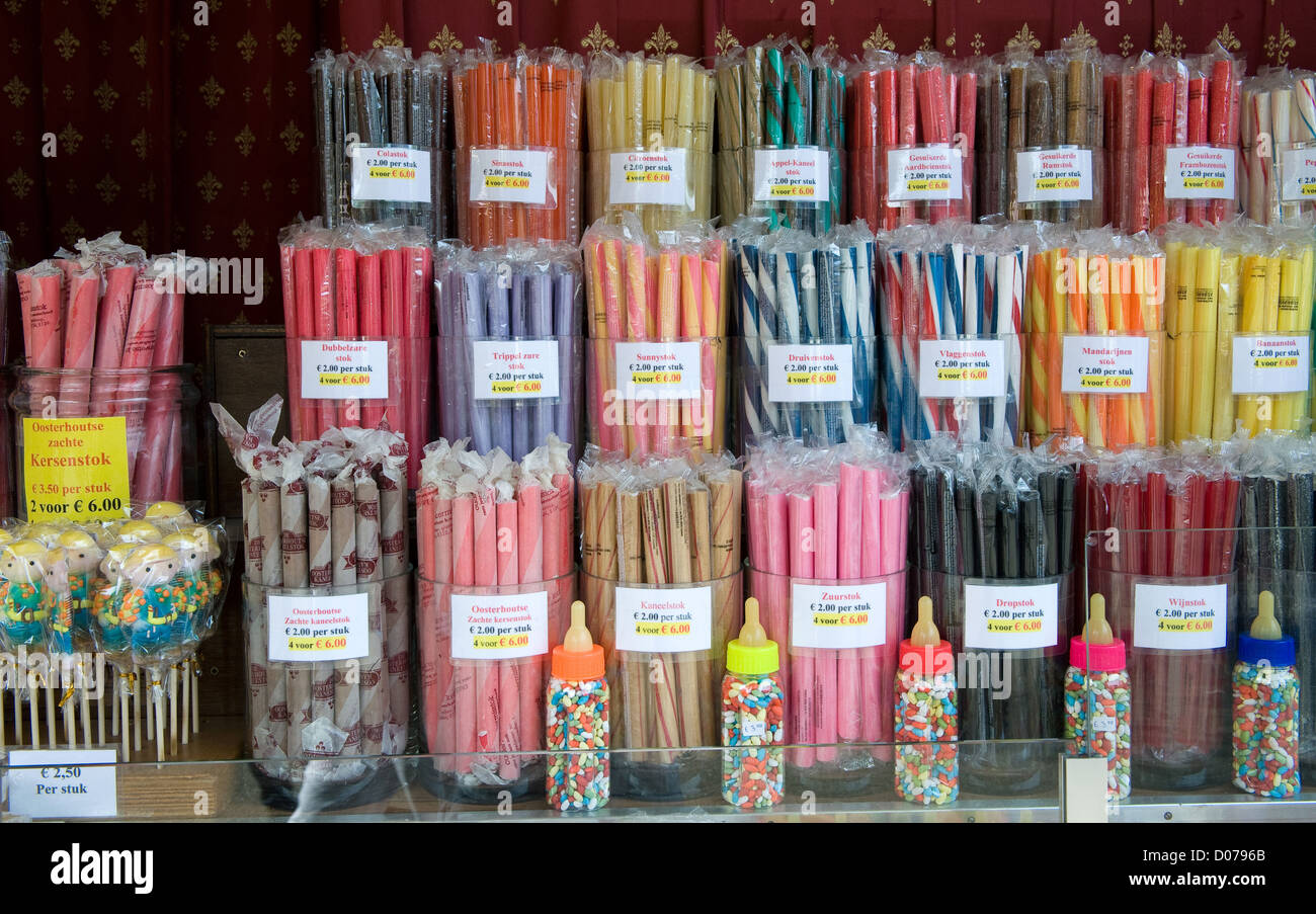 A lot of different acid grips and other sweets in a candy store - Stock Image